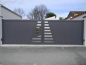 Modele De Portail Coulissant : portails coulissants aluminium portail alu leroy merlin ~ Premium-room.com Idées de Décoration