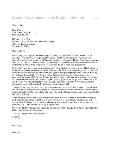 Cover Letter For Designer by Interior Design Assistant Cover Letter Sle
