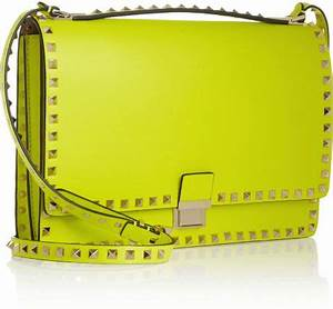 Valentino The Rockstud Flap Neon Leather Shoulder Bag in