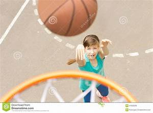 Attractive Girl Shooting A Basketball Stock Photo - Image ...