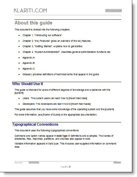 guide template user guide template ms word templates and free forms
