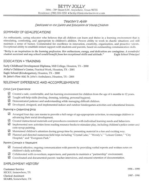 resume format education or work experience first newsletter edition teacher aide resume exle