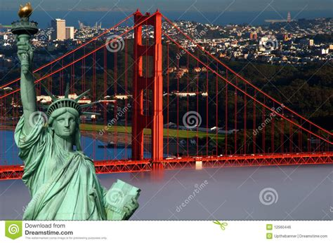 Tourism Concept San Francisco And Statue Liberty Stock