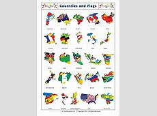 Countries and Flags flashcards for kids Países y