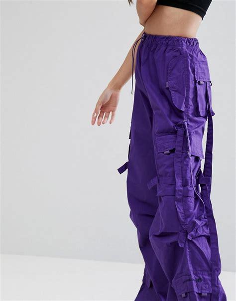 criminal damage synthetic purple cargo pant lyst