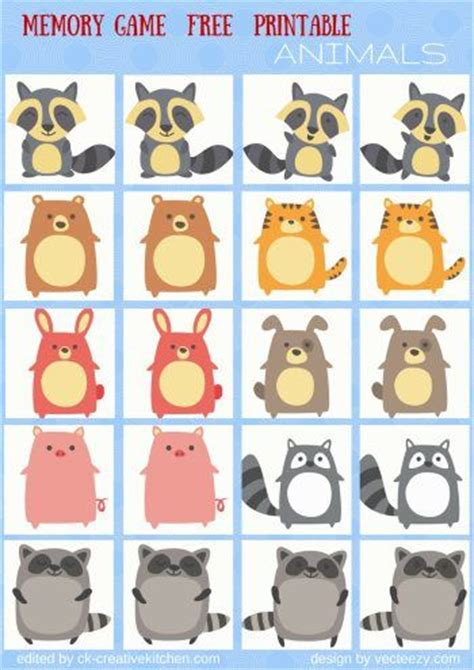 Animals  #memory #game Free Printables  #preschool  Baby  Pinterest  Free Printables