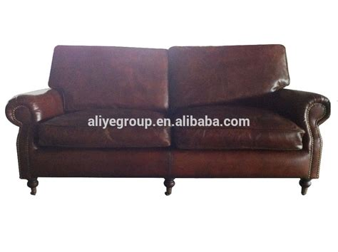 Pk 5061-antique Single Sofa Upholstered Rustic Leather Old