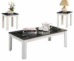 monarch specialties 7844p 3 piece coffee table set in grey With grey marble coffee table set