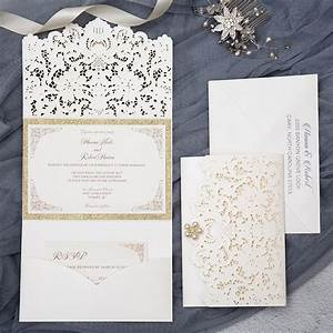 formal elegant ivory and gold glittery pocket wedding With fancy wedding invitations canada