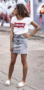 15 best denim skirt summer outfits to copy right now ...