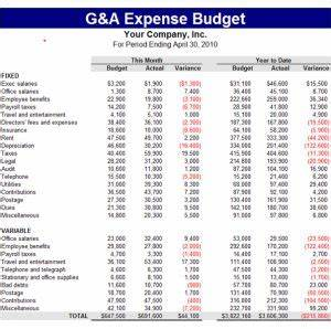 Travel Expense Form General And Administrative G A Expense Budget Template It