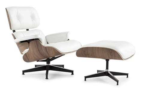 eames style lounge chair and ottoman white leather walnut