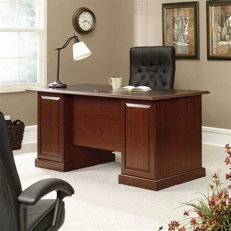 sauder executive desk black sauder heritage hill executive cherry w blacklay top