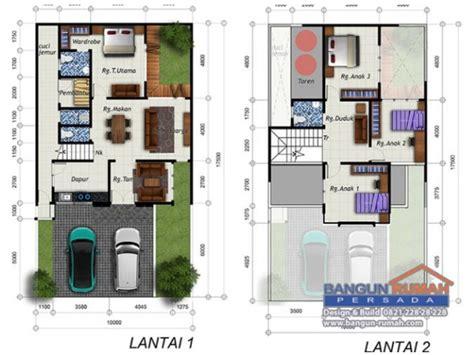 desain rumah     dua lantai gaya natural tropis