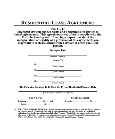 apartment lease agreement samples word  pages