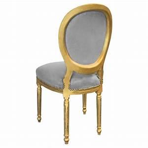 Chaise Velours Gris : chaise de style louis xvi tissu velours gris et bois dor patin ~ Teatrodelosmanantiales.com Idées de Décoration
