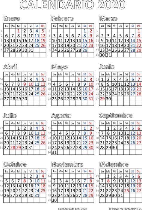 calendario de peru imprimir el gratis