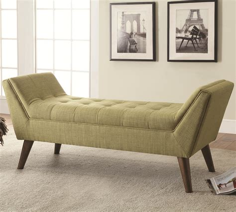 Benches Midcentury Modern Upholstered Accent Bench