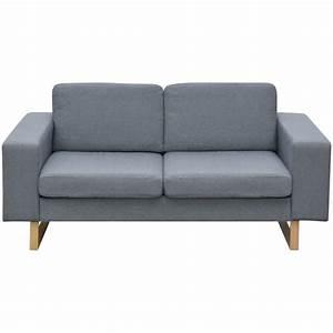 acheter vidaxl canape avec 2 places tissu gris clair pas With tapis de course pas cher avec canapé 3 places gris foncé