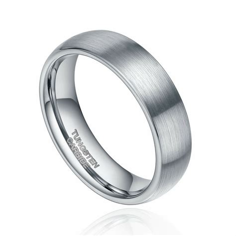 6mm 8mm tungsten carbide ring wedding band dome brushed