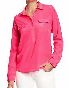 Old Navy Pink Neon Blouse Chiffon Blouse Pink