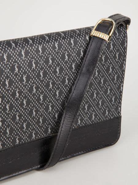 yves saint laurent vintage monogram shoulder bag  black lyst
