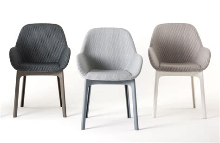 fauteuils de salle a manger fauteuil rembourr 233 clap tissu pieds plastique graphite pieds tourterelle kartell