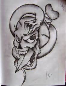 Snake and Skull Drawings