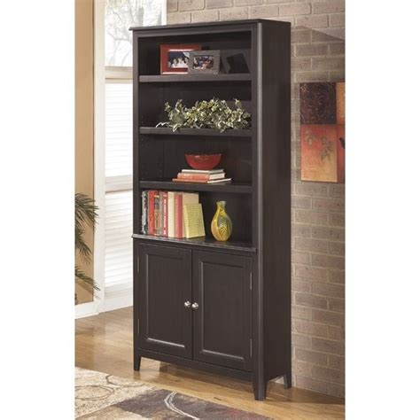 black bookcase with doors ashley carlyle large bookcase with doors in almost black