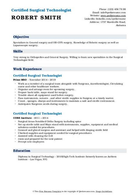 Technologist Resume by Certified Surgical Technologist Resume Sles Qwikresume