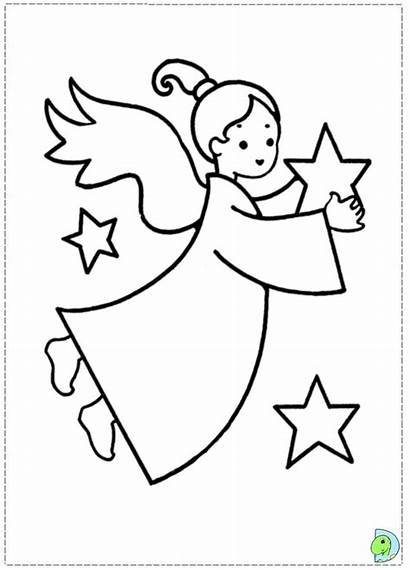 Angel Coloring Christmas Colouring Pages Clipart Dinokids
