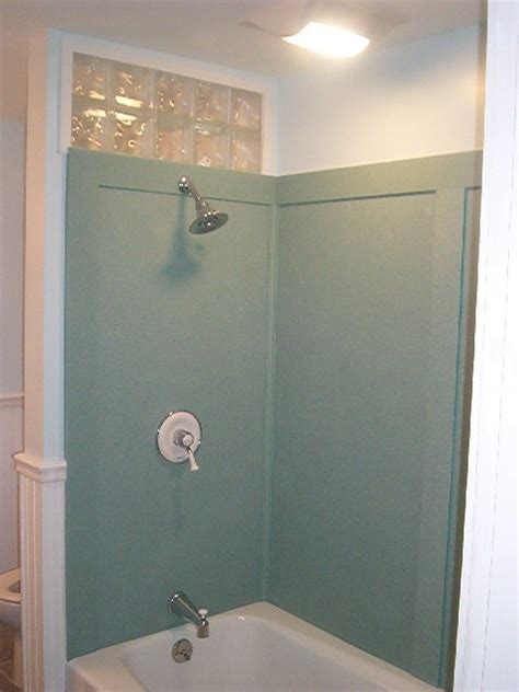 swanstone shower walls  tahiti green bathroom