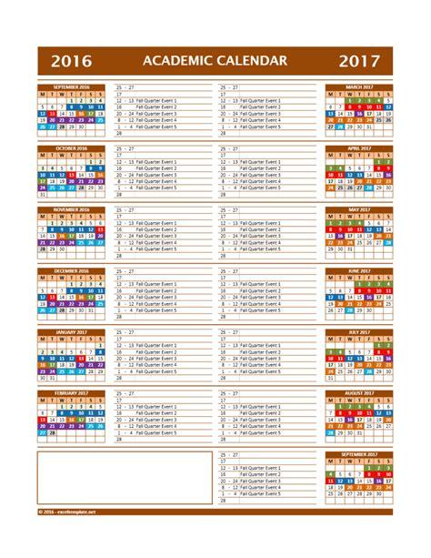 academic calendar template 2017 2018 and 2016 2017 school calendar templates excel templates