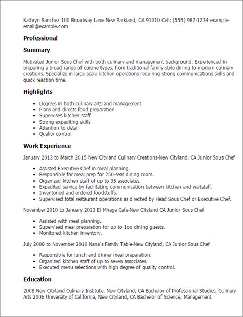 17121 sous chef resume exles culinary resume templates to impress any employer livecareer