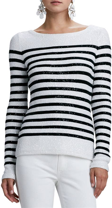 black and white striped sweater oscar de la renta striped sequined sleeve sweater
