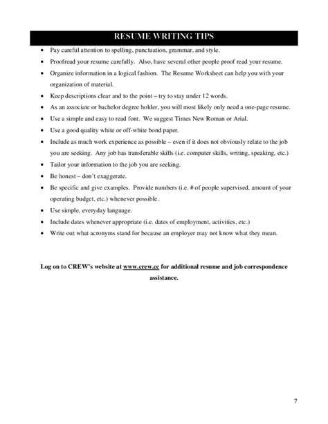 resume writing worksheets for highschool students