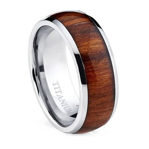 oliveti s dome titanium ring with real santos rosewood inlay comfort fit ring after