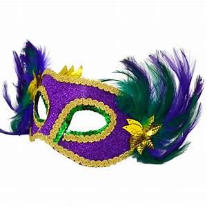 Mardi Gras Lamé Feather Mask [36011] - MardiGrasOutlet.com