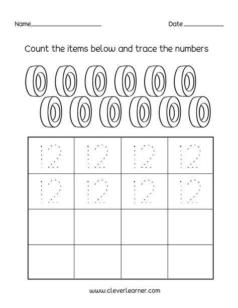 number twelve writing counting  identification