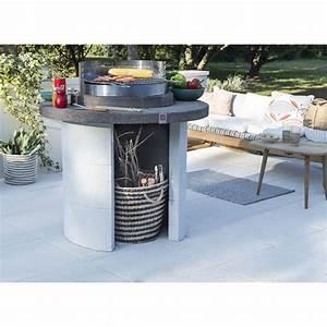 Cheminée De Table Leroy Merlin : barbecue en b ton beige et gris mercurion x x cm leroy merlin ~ Farleysfitness.com Idées de Décoration