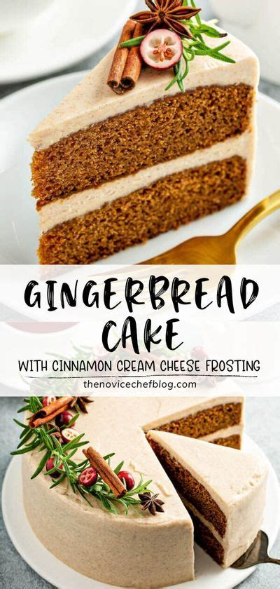 GINGERBREAD CAKE WITH CINNAMON CREAM CHEESE FROSTING in