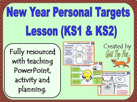 New Year Personal Targets Lesson For Primary School (2018) By Goldtopfox  Teaching Resources Tes