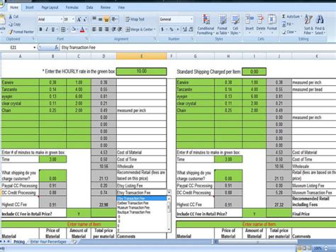 pricing strategy template selling price margin calculator