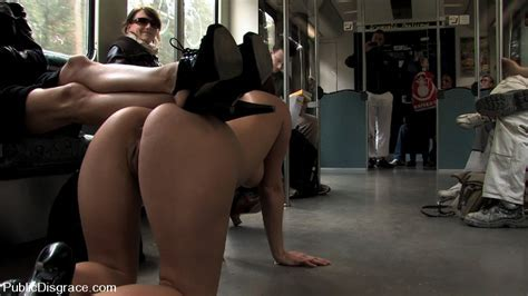 Round Assed Slave Girl Appears Naked In Crowded City Train And Gets Fucked In Public