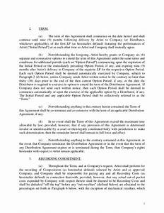 Record label contract template hunecompanycom for Record label contracts templates