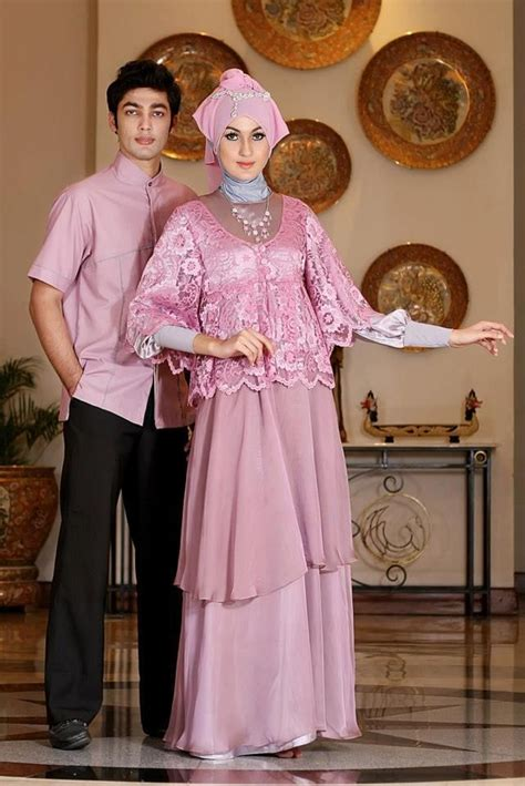 long dress baju muslim pesta dusty pink couple simple