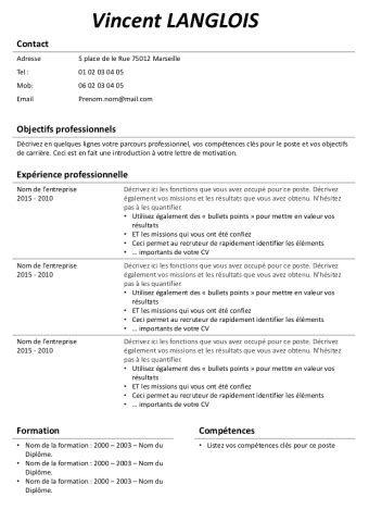 Model De Cv Simple by Model De Cv Simple Gratuit Modele Nouveau Cv Moto Bip