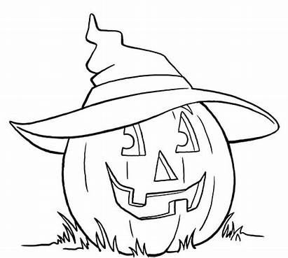 Coloring Witch Hat Halloween Pages Pumpkin Printable