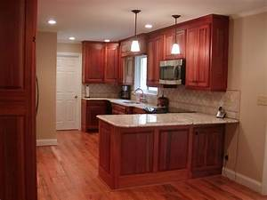 Magnificent Cherry Red Mahogany Cabinets With White