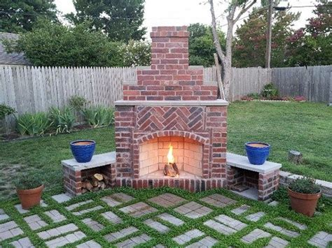 Red Brick Faced Small Outddor Patio Corner Fireplace